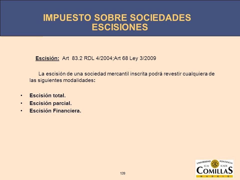 ESCISIONES Escisión: Art 83.2 RDL 4/2004;Art 68 Ley 3/2009