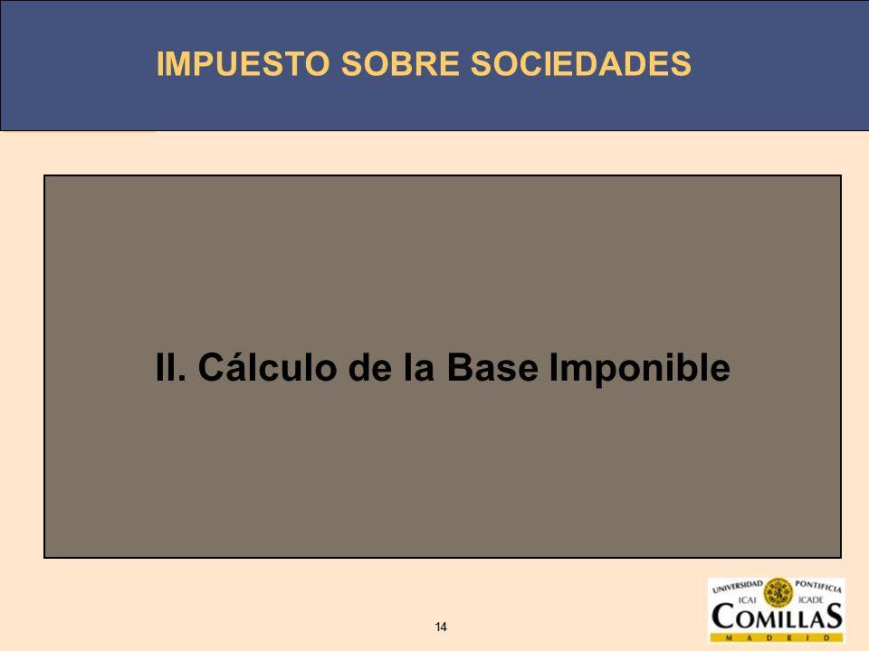 II. Cálculo de la Base Imponible