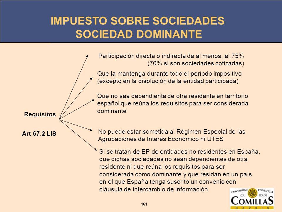 SOCIEDAD DOMINANTE Requisitos. Participación directa o indirecta de al menos, el 75% (70% si son sociedades cotizadas)
