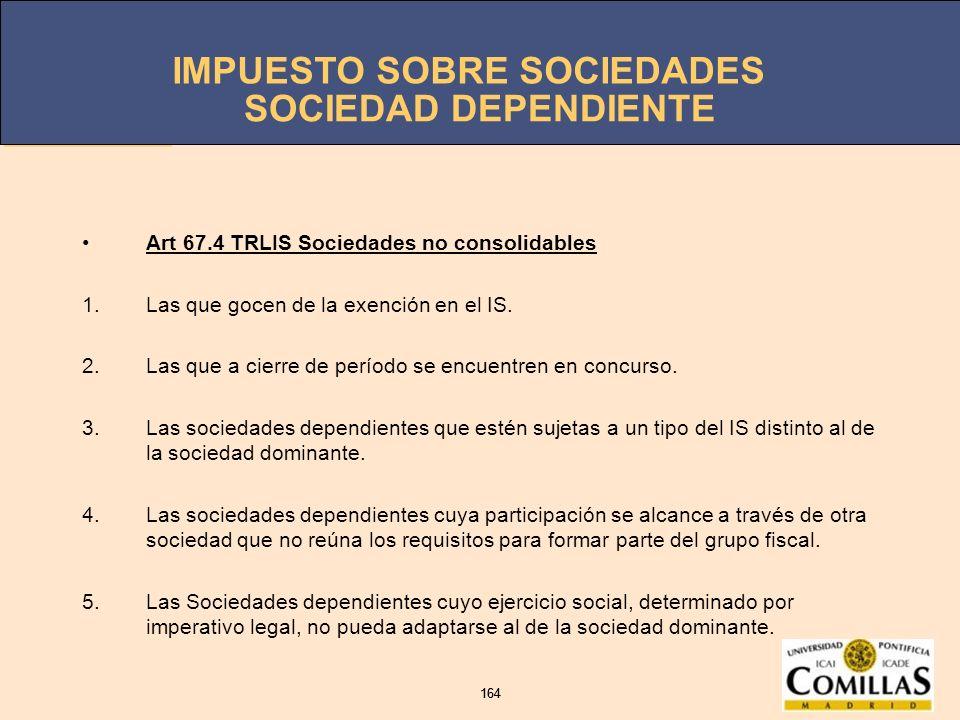 SOCIEDAD DEPENDIENTE Art 67.4 TRLIS Sociedades no consolidables