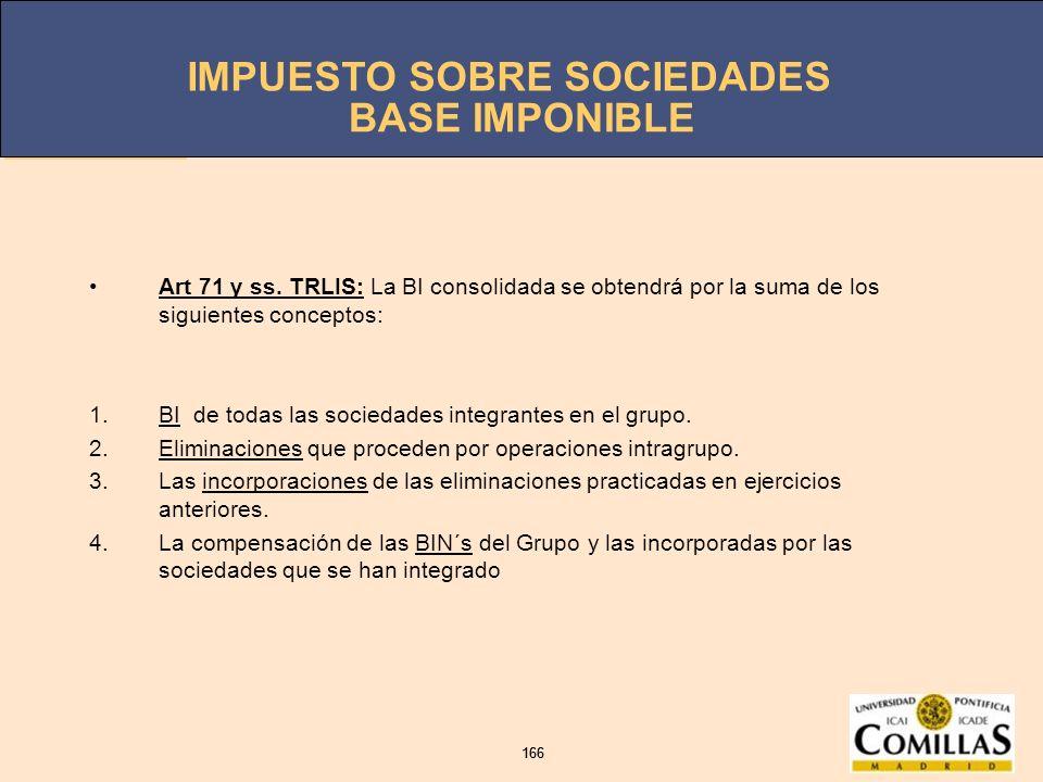 BASE IMPONIBLE Art 71 y ss. TRLIS: La BI consolidada se obtendrá por la suma de los siguientes conceptos: