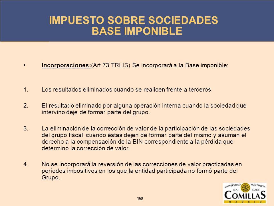 BASE IMPONIBLEIncorporaciones:(Art 73 TRLIS) Se incorporará a la Base imponible: Los resultados eliminados cuando se realicen frente a terceros.