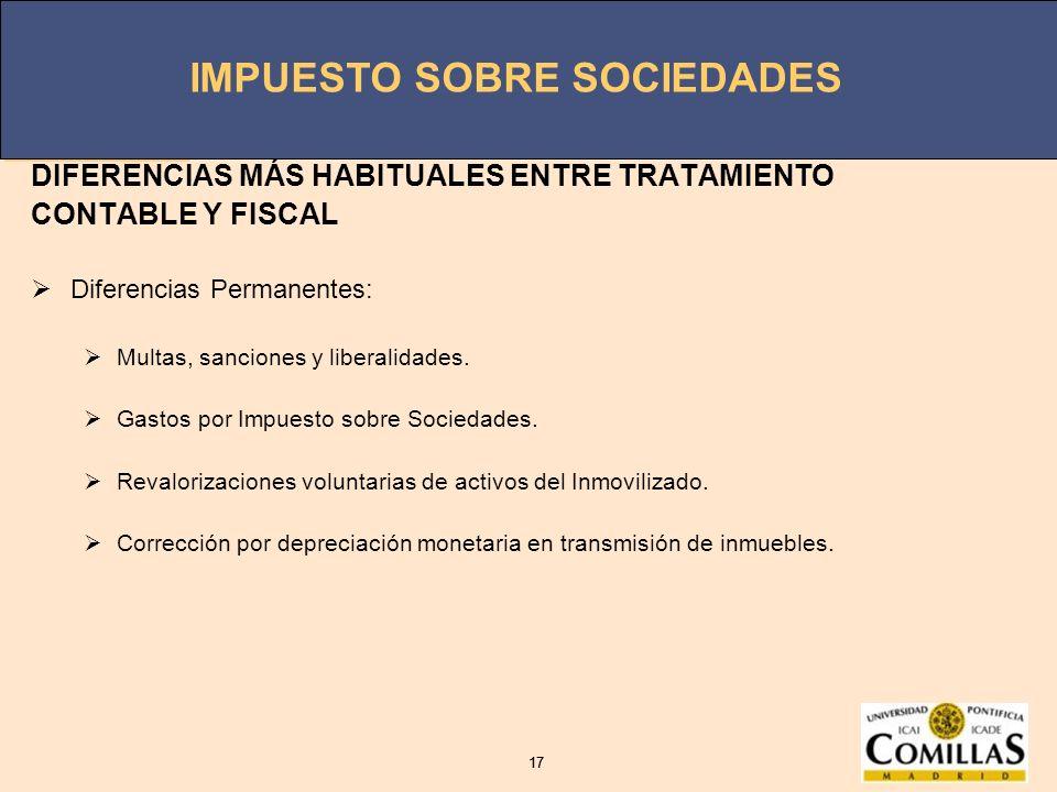 DIFERENCIAS MÁS HABITUALES ENTRE TRATAMIENTO CONTABLE Y FISCAL