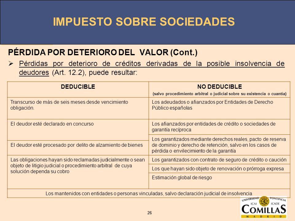 PÉRDIDA POR DETERIORO DEL VALOR (Cont.)
