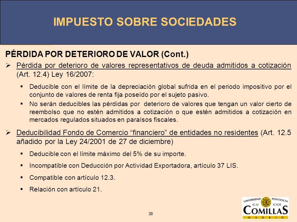 PÉRDIDA POR DETERIORO DE VALOR (Cont.)
