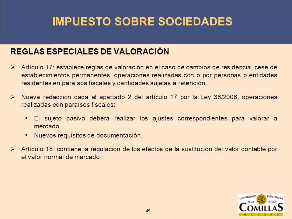 REGLAS ESPECIALES DE VALORACIÓN