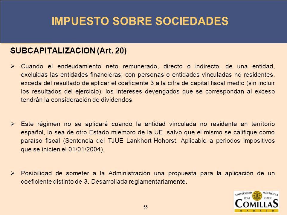 SUBCAPITALIZACION (Art. 20)