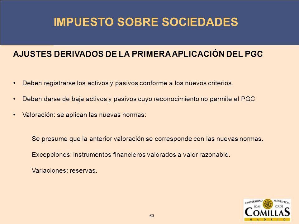 AJUSTES DERIVADOS DE LA PRIMERA APLICACIÓN DEL PGC