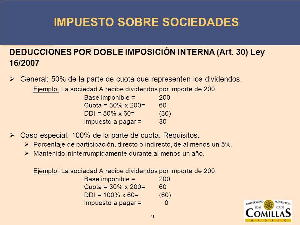 DEDUCCIONES POR DOBLE IMPOSICIÓN INTERNA (Art. 30) Ley 16/2007