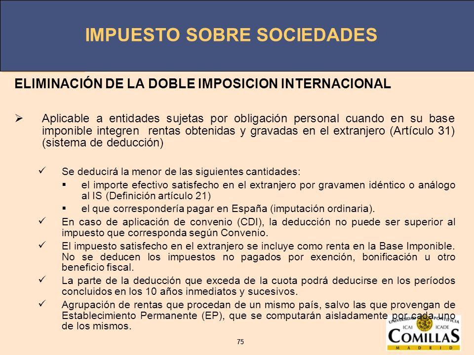 ELIMINACIÓN DE LA DOBLE IMPOSICION INTERNACIONAL