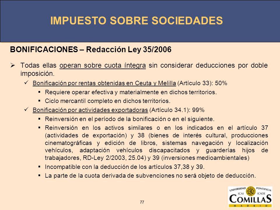 BONIFICACIONES – Redacción Ley 35/2006