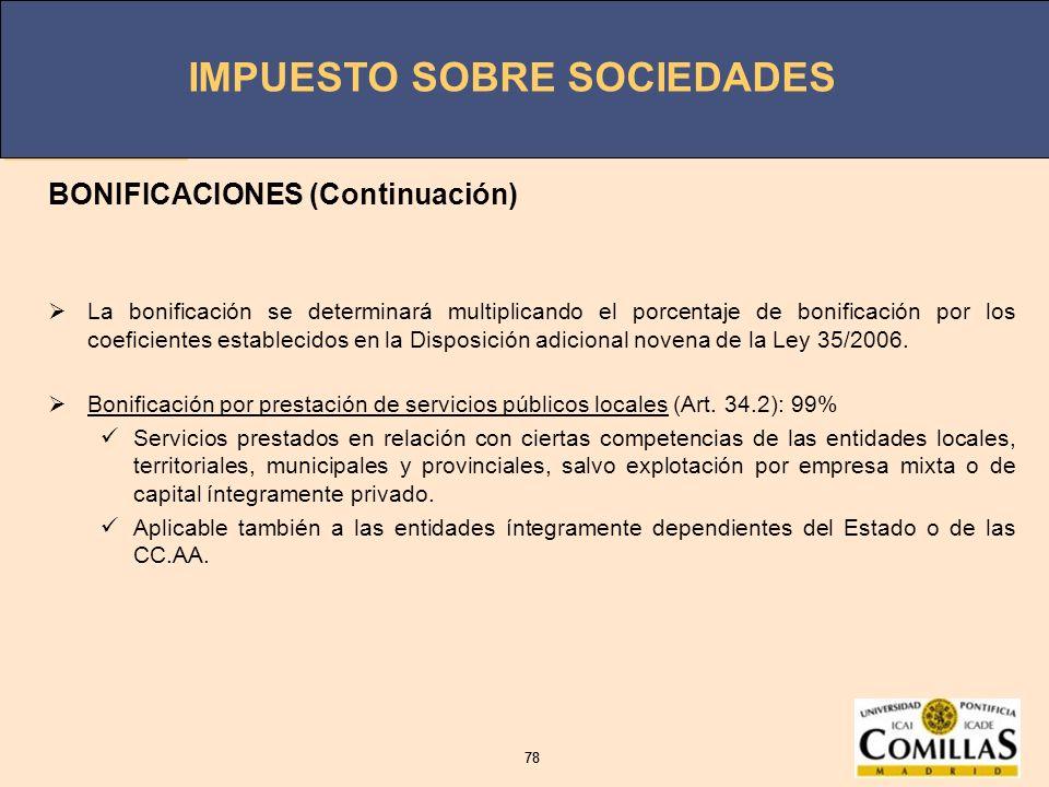 BONIFICACIONES (Continuación)