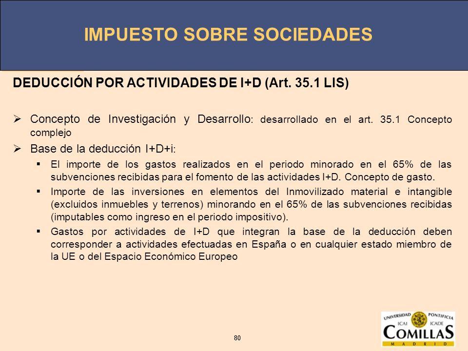DEDUCCIÓN POR ACTIVIDADES DE I+D (Art. 35.1 LIS)