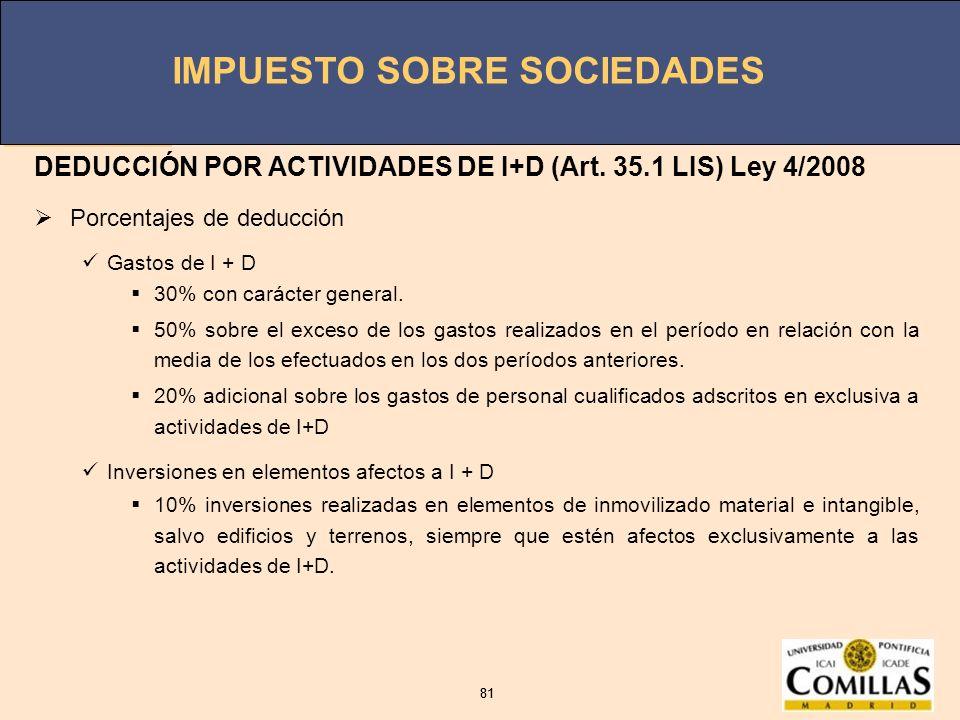 DEDUCCIÓN POR ACTIVIDADES DE I+D (Art. 35.1 LIS) Ley 4/2008