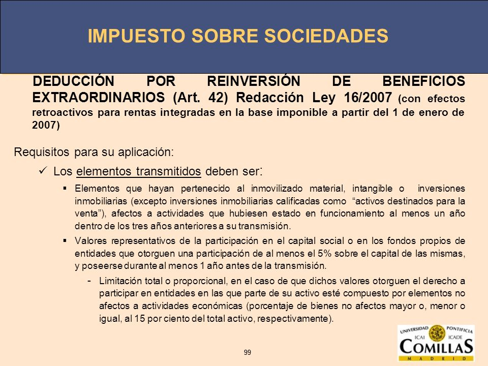DEDUCCIÓN POR REINVERSIÓN DE BENEFICIOS EXTRAORDINARIOS (Art