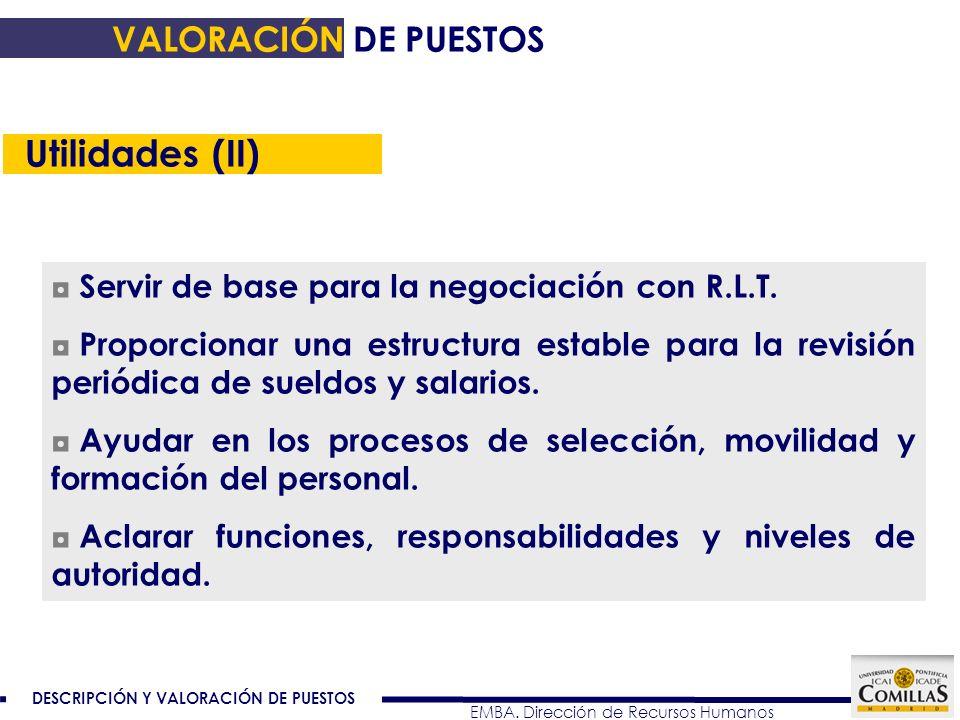 Utilidades (II) VALORACIÓN DE PUESTOS