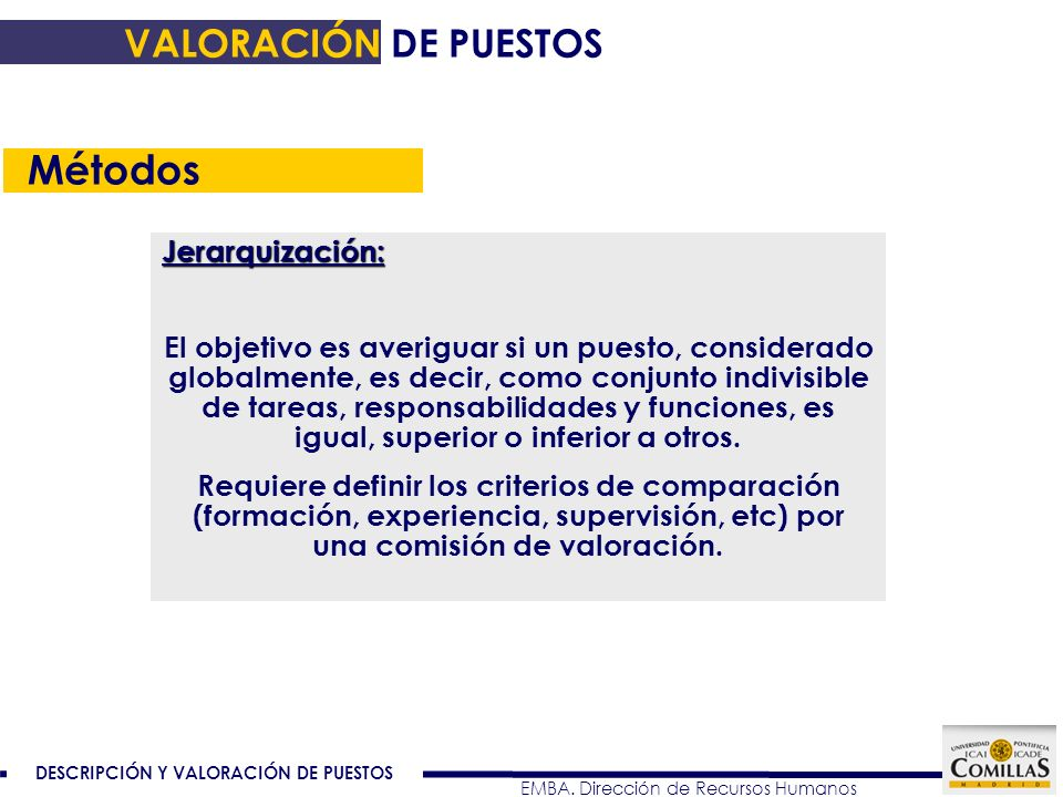 Métodos VALORACIÓN DE PUESTOS Jerarquización: