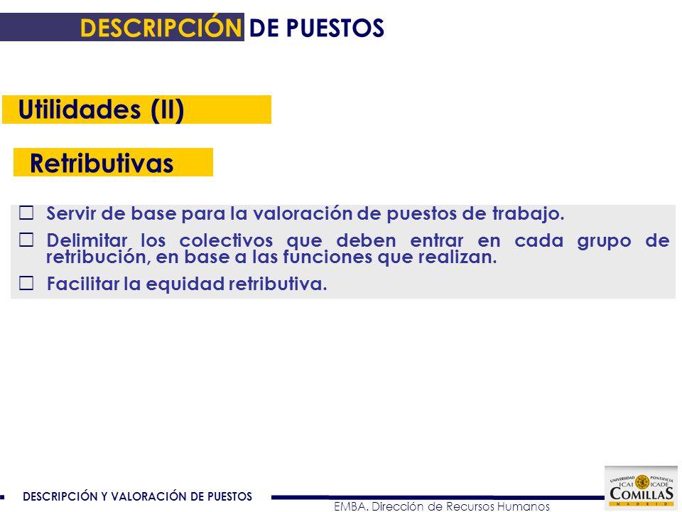 Utilidades (II) Retributivas DESCRIPCIÓN DE PUESTOS