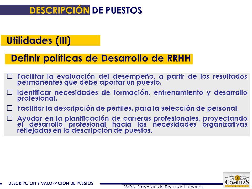 Definir políticas de Desarrollo de RRHH