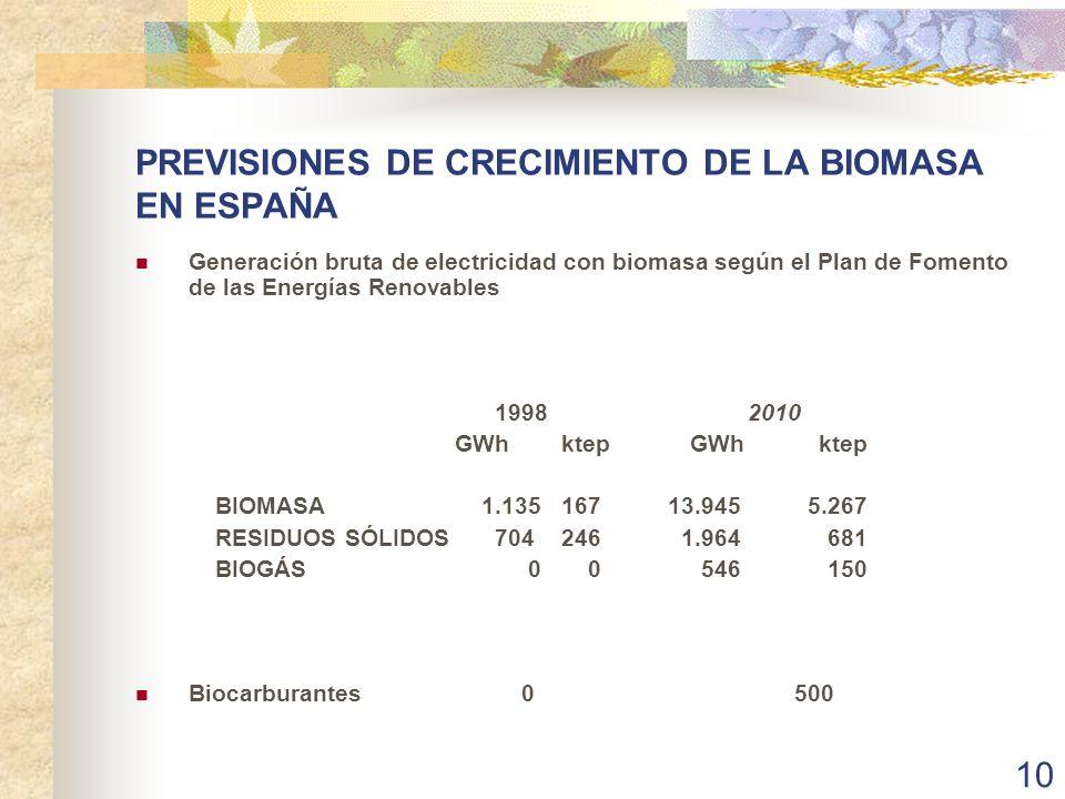 PREVISIONES DE CRECIMIENTO DE LA BIOMASA EN ESPAÑA