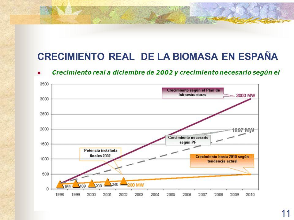 CRECIMIENTO REAL DE LA BIOMASA EN ESPAÑA
