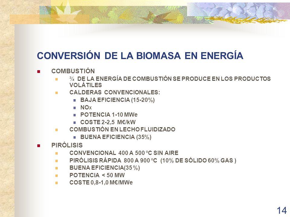 CONVERSIÓN DE LA BIOMASA EN ENERGÍA
