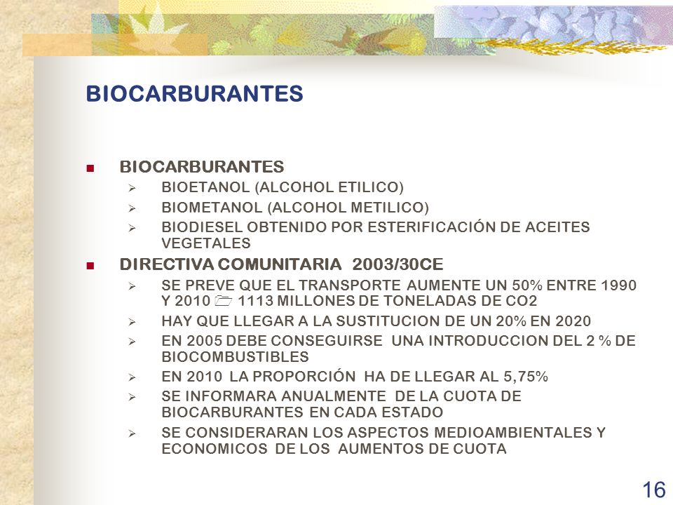 BIOCARBURANTES BIOCARBURANTES DIRECTIVA COMUNITARIA 2003/30CE