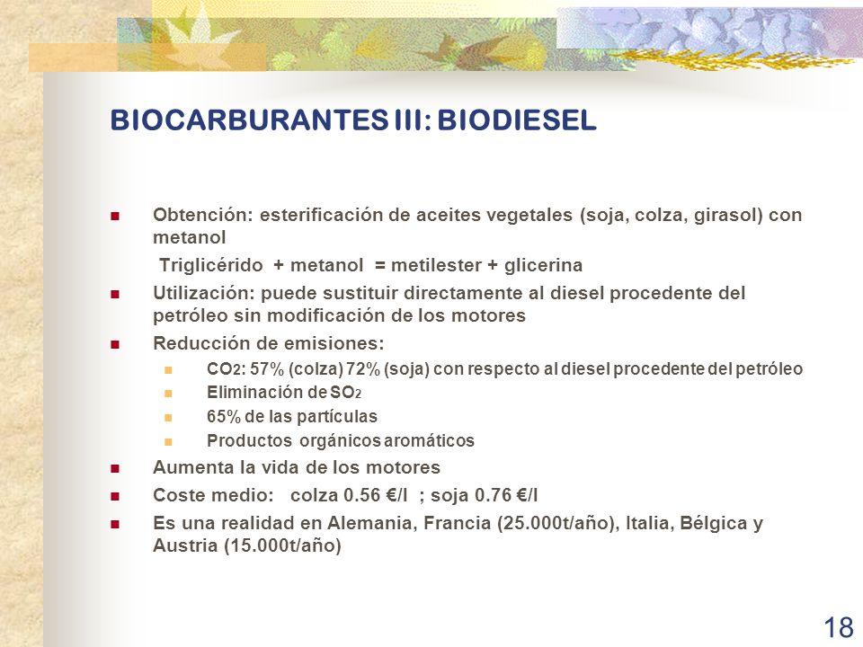 BIOCARBURANTES III: BIODIESEL