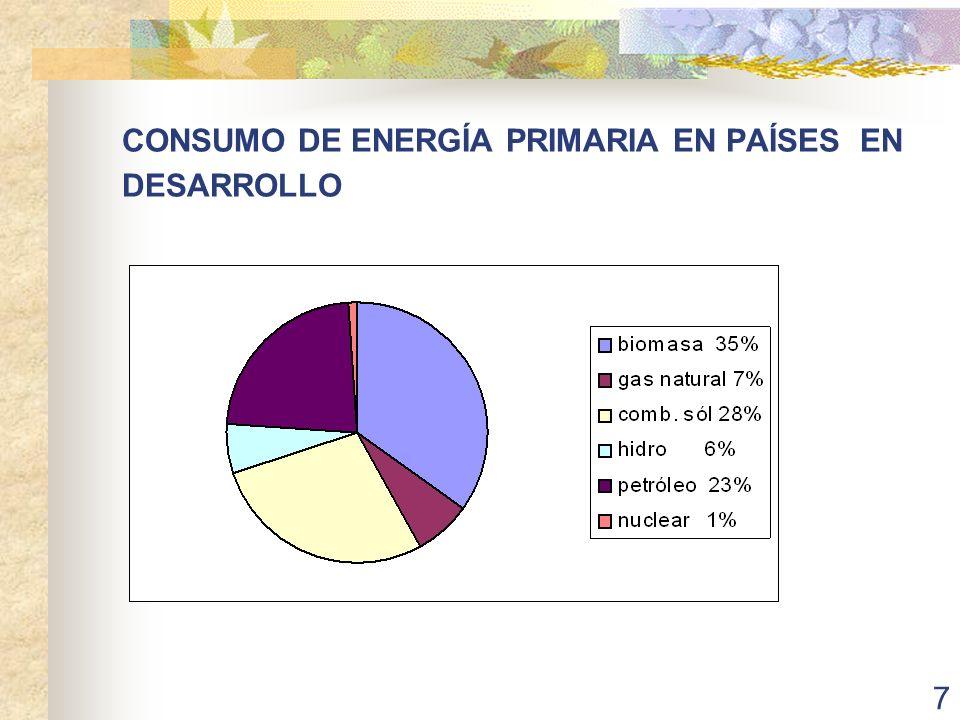 CONSUMO DE ENERGÍA PRIMARIA EN PAÍSES EN DESARROLLO