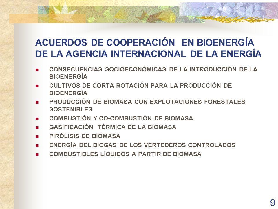 ACUERDOS DE COOPERACIÓN EN BIOENERGÍA DE LA AGENCIA INTERNACIONAL DE LA ENERGÍA