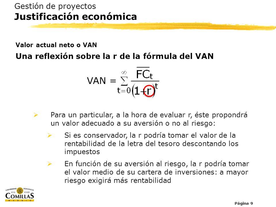 VAN = Gestión de proyectos Justificación económica