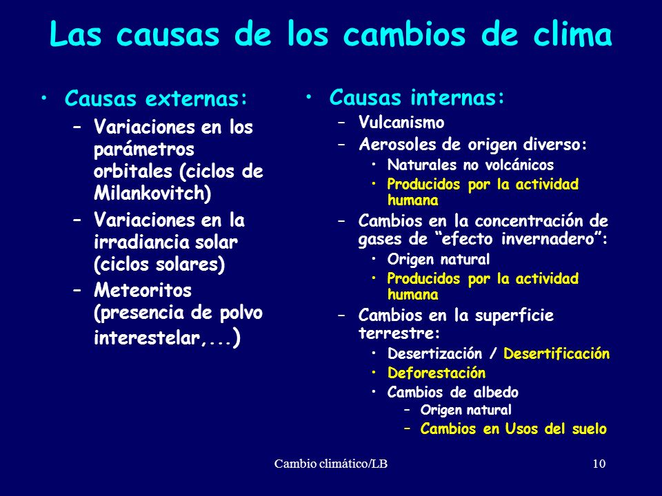 Las causas de los cambios de clima