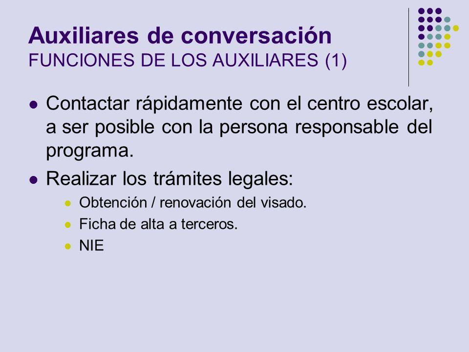 Auxiliares de conversación FUNCIONES DE LOS AUXILIARES (1)