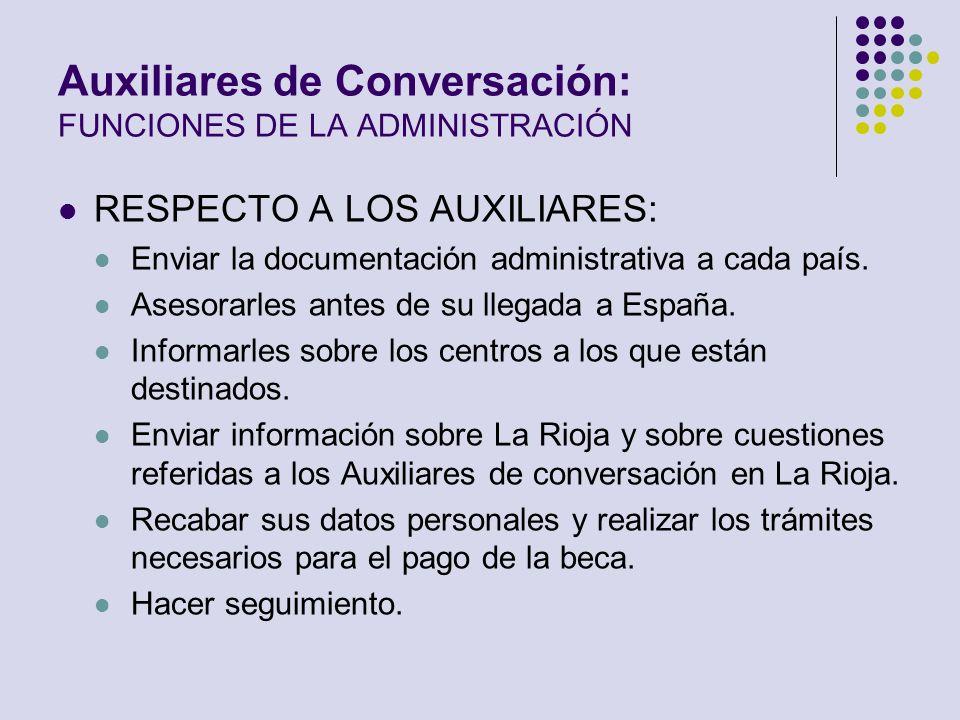 Auxiliares de Conversación: FUNCIONES DE LA ADMINISTRACIÓN