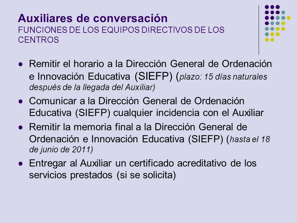 Auxiliares de conversación FUNCIONES DE LOS EQUIPOS DIRECTIVOS DE LOS CENTROS