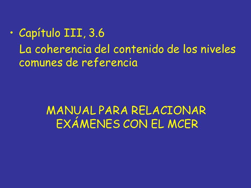 MANUAL PARA RELACIONAR EXÁMENES CON EL MCER