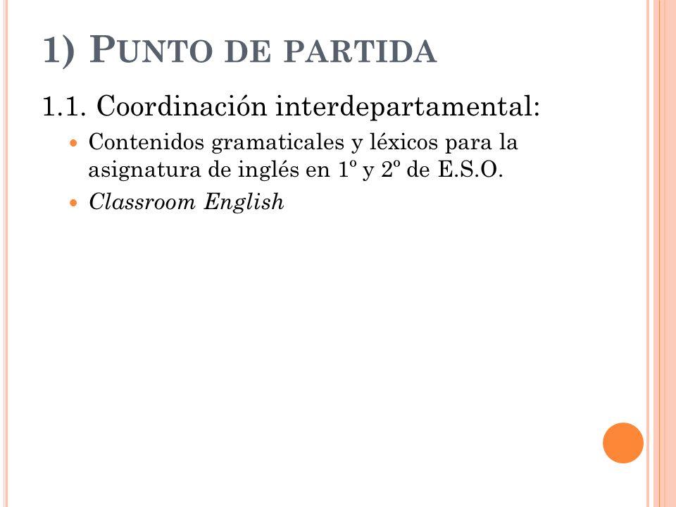 1) Punto de partida 1.1. Coordinación interdepartamental: