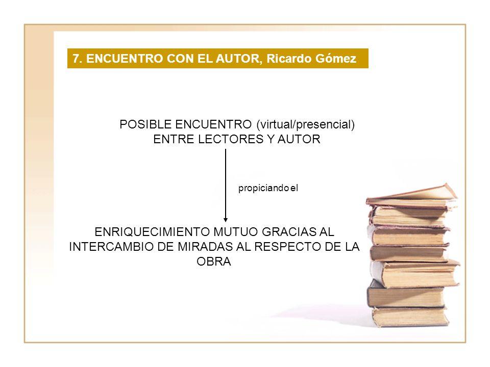 POSIBLE ENCUENTRO (virtual/presencial) ENTRE LECTORES Y AUTOR