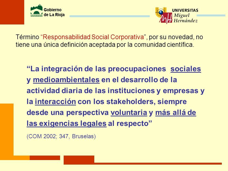 Término Responsabilidad Social Corporativa , por su novedad, no tiene una única definición aceptada por la comunidad científica.