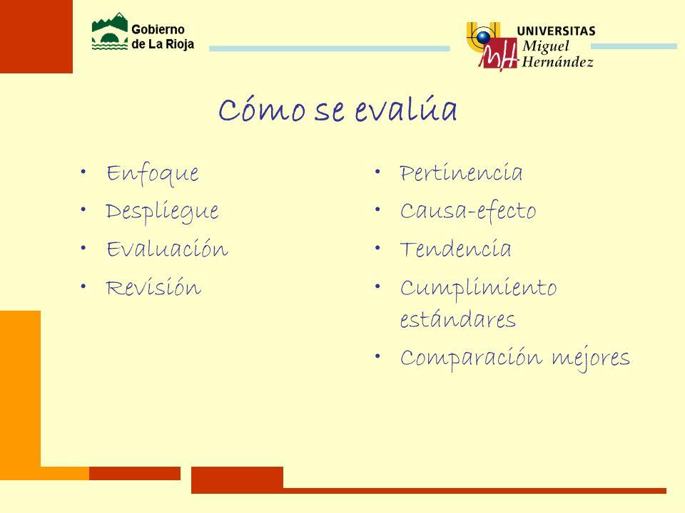Cómo se evalúa Enfoque Despliegue Evaluación Revisión Pertinencia