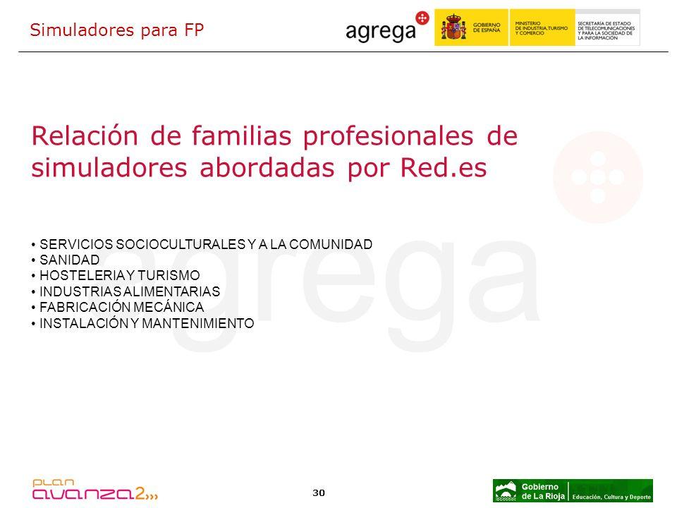 Relación de familias profesionales de simuladores abordadas por Red.es
