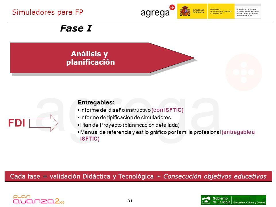 FDI Fase I Simuladores para FP Análisis y planificación Entregables: