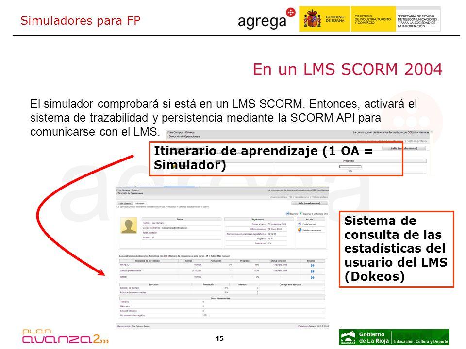 En un LMS SCORM 2004 Simuladores para FP