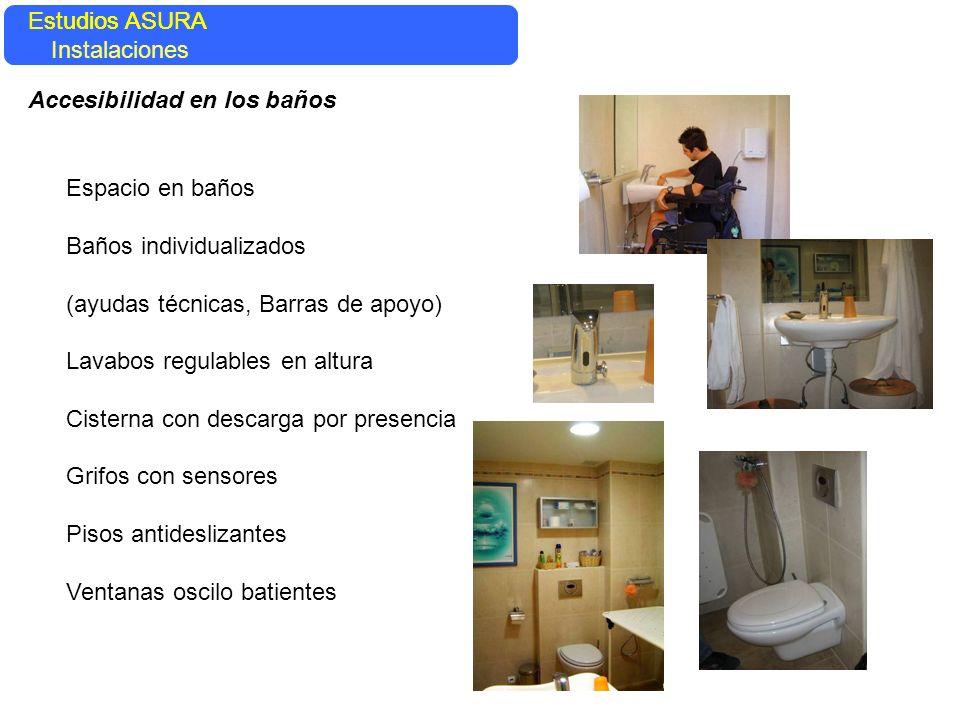 Estudios ASURA Estudios ASURA. Instalaciones. Accesibilidad en los baños. Espacio en baños. Baños individualizados.