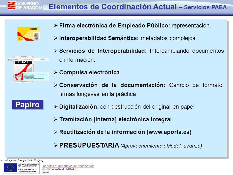 Elementos de Coordinación Actual – Servicios PAEA