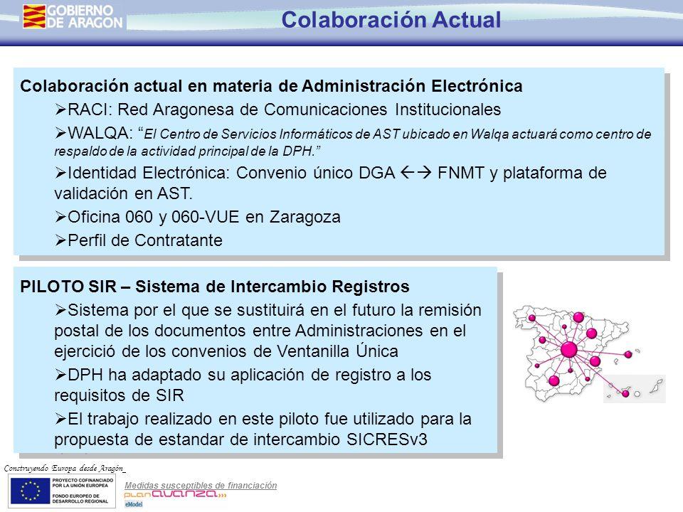 Colaboración Actual Colaboración actual en materia de Administración Electrónica. RACI: Red Aragonesa de Comunicaciones Institucionales.
