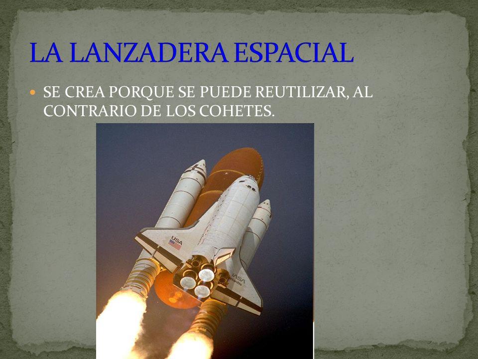LA LANZADERA ESPACIAL SE CREA PORQUE SE PUEDE REUTILIZAR, AL CONTRARIO DE LOS COHETES.