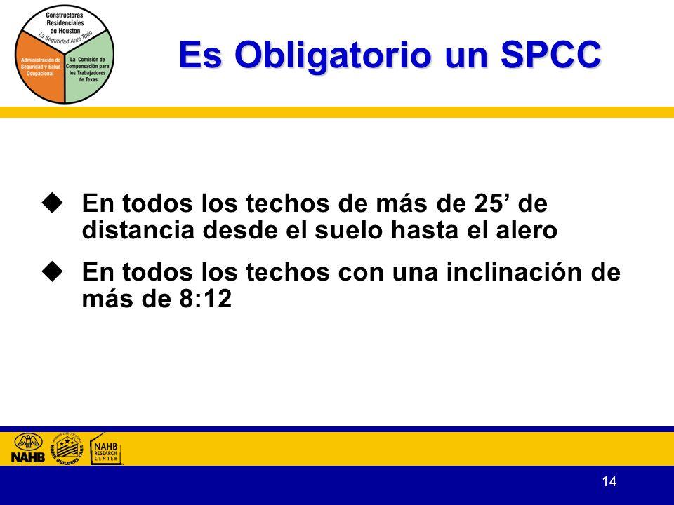 Es Obligatorio un SPCC En todos los techos de más de 25' de distancia desde el suelo hasta el alero.