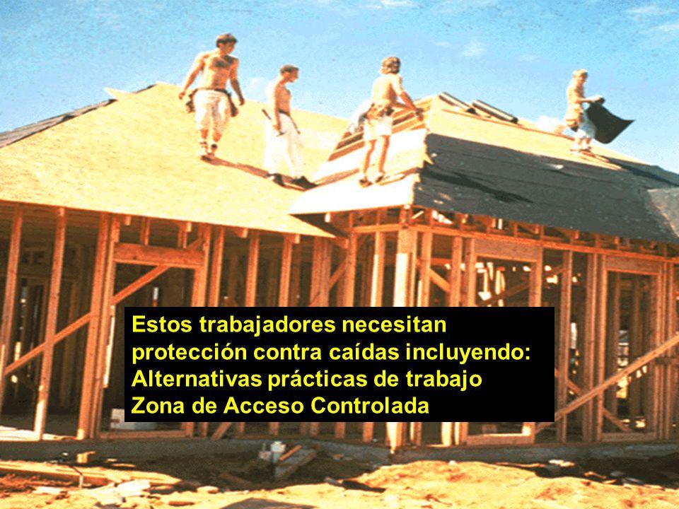 Estos trabajadores necesitan protección contra caídas incluyendo: