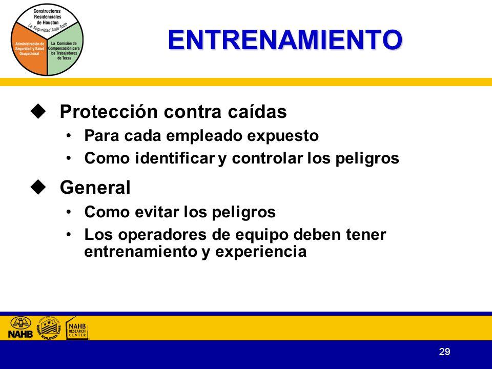 ENTRENAMIENTO Protección contra caídas General